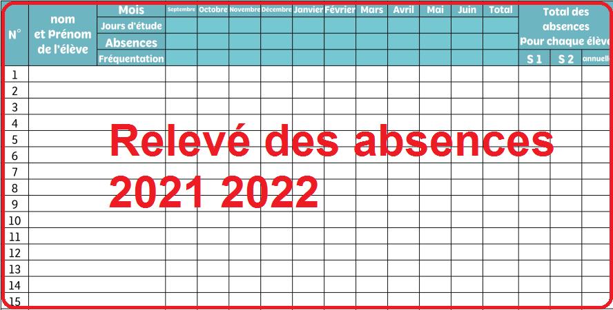 Relevé des absences 2021 2022