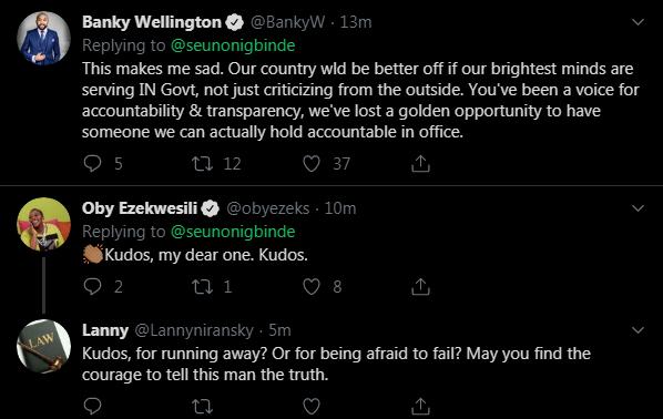 Seun Onigbinde Resignation: Oby Ezekwesil, Banky W, Others React