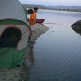"""Then the tide came in. (refer to """"a great place to camp--notice the land bridge is gone)"""