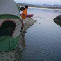 "Then the tide came in. (refer to ""a great place to camp--notice the land bridge is gone)"