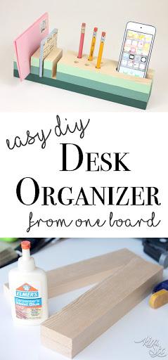 Diy Desk Organizer Part - 18: Easy DIY Desk Organizer From A Single Board A Great Starter Woodworking  Project