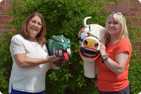 TAPPS members Gwen Kinder and Julie  Blackhurst with panto props
