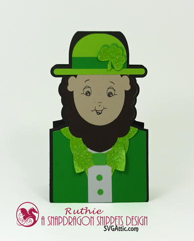 Leprechaun character shaped card, SnapDragon Snippets, Ruthie Lopez