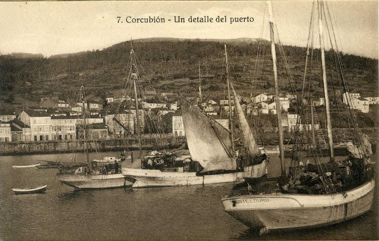 Balandra MONTE LOURO, matricula de Corcubión. Postal. Museu Maritim de Barcelona..jpg