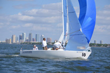 J/22 one-design sailboat- sailing under spinnaker