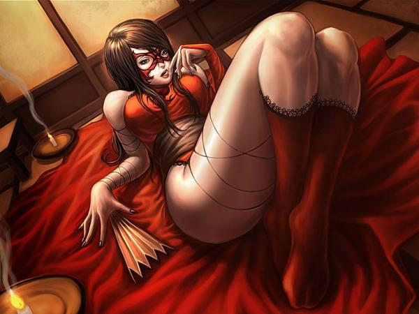 Girl On A Red Bed Sheets, Gothic