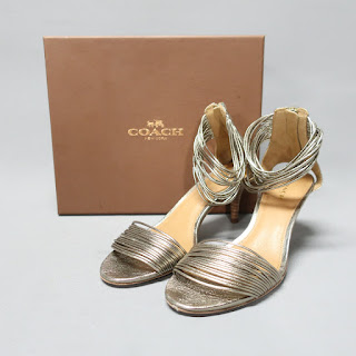 Coach Metallic Ankle Strap Sandals