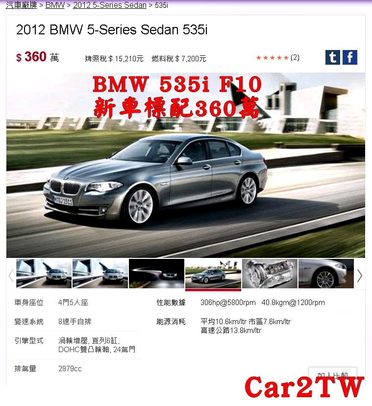 BMW 535i新車價錢