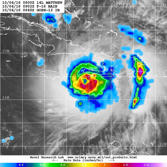 Microwave image of rainfall rates in Hurricane Matthew from the F-16 polar orbiting satellite taken at 5:02 am EDT 4 October 2016. At the time, Matthew was a Category 4 storm with 145 mph winds. Rainfall amounts in excess of 1 inch per hour (orange colors) were occurring along the coasts of Haiti and the Dominican Republic. Photo: NRL Tropical Cyclone Page
