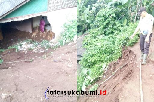 Tanah Longsor Jebol Rumah Warga di Sukabumi