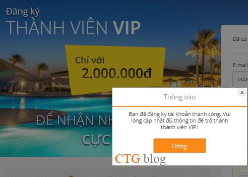 Tặng mã đăng ký tài khoản VIP (trên VnTrip) trị giá 2 triệu đồng