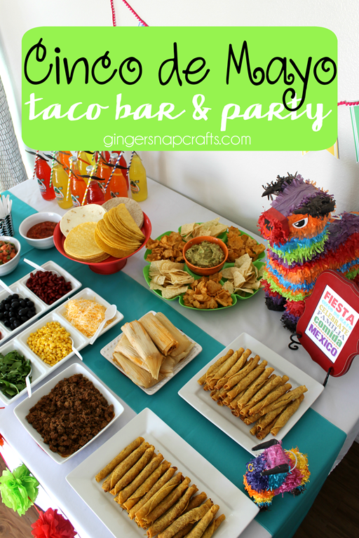 Cinco de Mayo Taco Bar & Party at GingerSnapCrafts.com #DelimexFiesta #party