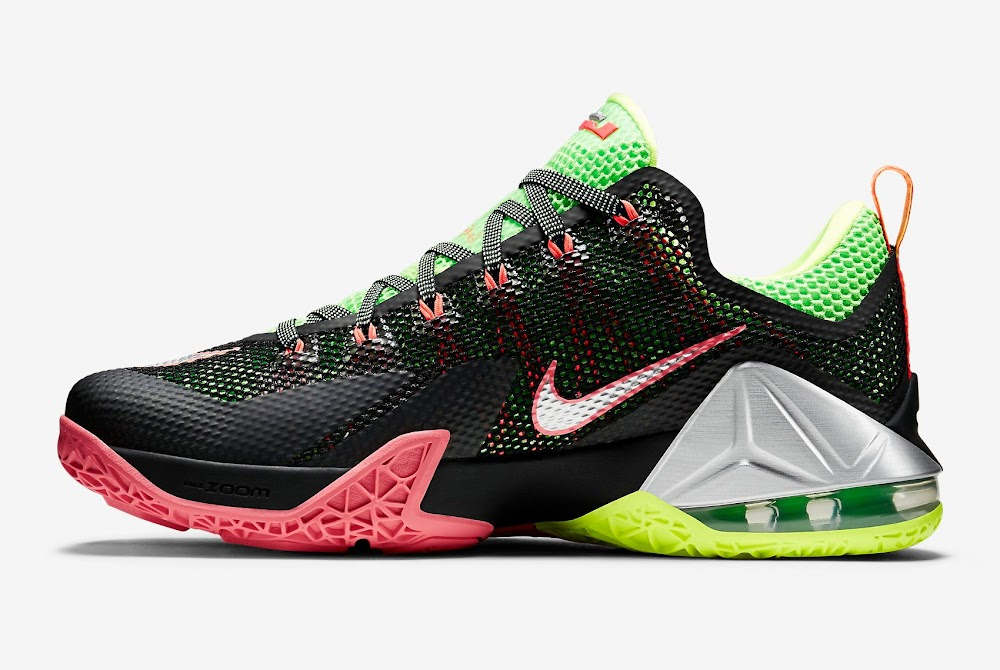 LeBron 12 Low – Black   Silver   Volt   Hot Lava – Official Release ... f267c04455cb