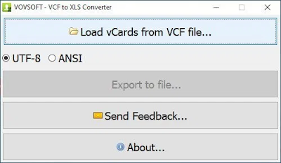 VovSoft VCF to XLS Converter 1.7