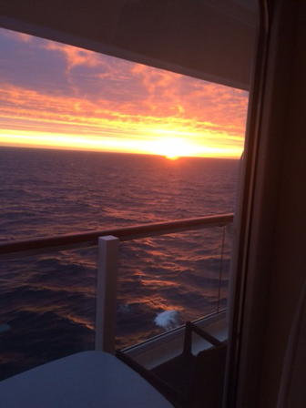 Sunrise at sea as Palmia Observatory Resident Astronomers hunt for Northern Lights off the coast I