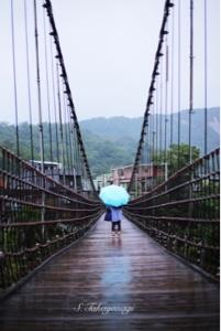 平渓線 十分駅にて 天燈 吊り橋