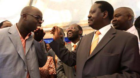 Raila Odinga with Late Ken Okoth. PHOTO | NMG