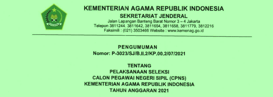 Rincian Formasi PPPK dan CPNS Kementerian Agama (Kemenag) Tahun 2021