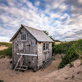 Late Afternoon Dune Shacks by David Long - Buildings & Architecture Public & Historical