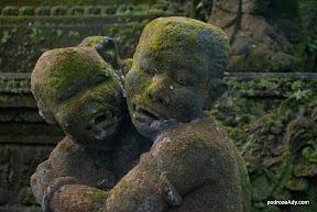 Omszałe rzeźby w Monkey Forrest