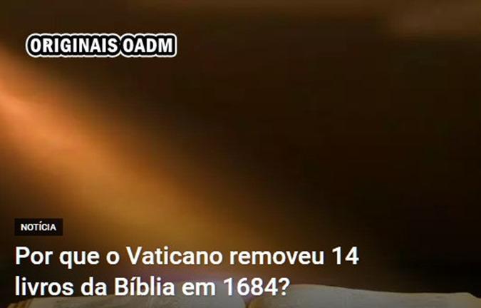 VATICANO REMOVEU 14 LIVROS DA BIBLIA