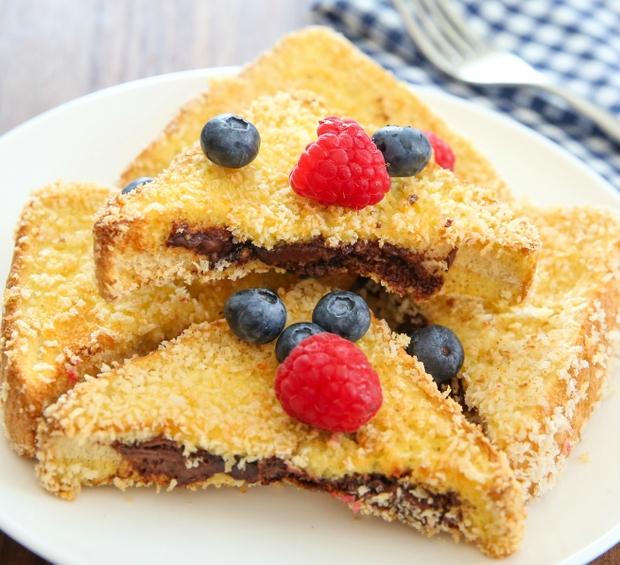 Crunchy French Toast garnished with fresh fruit
