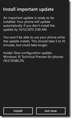 Phone Update screen, install 10.0.10586.29