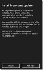Phone Update screen, install 10.0.10586.29