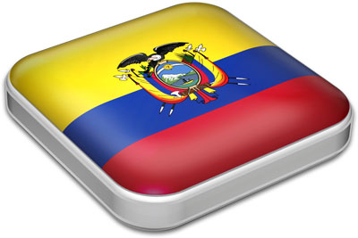 Flag of Ecuador with metallic square frame