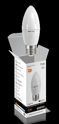 Светодиодные лампы Gauss Elementary свеча 6W E27