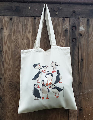 Puffins - Recycled Tote Bag by Alice Draws The Line
