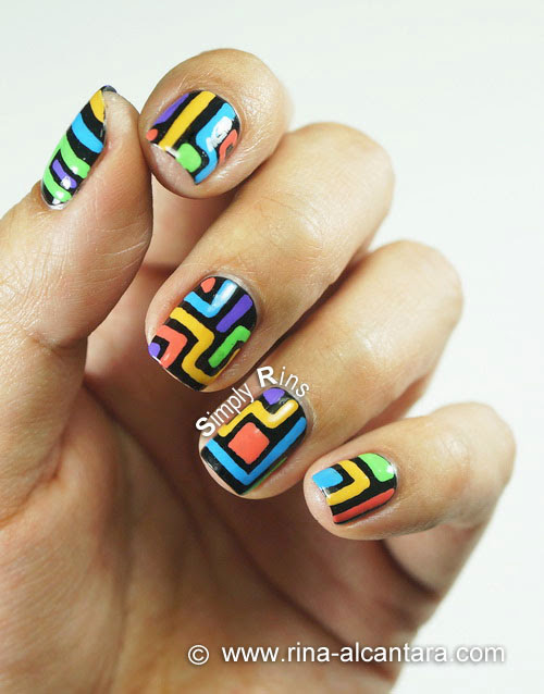 Crazy Lines Nail Art Design - Close Up