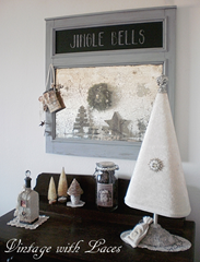 Chalkboard Mirror Christmas Decoration by Vintage with Laces