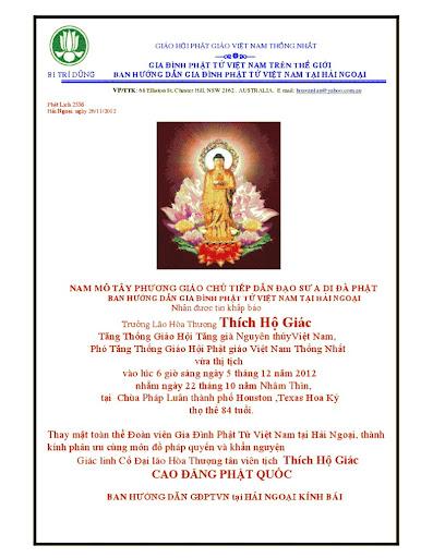 GĐPTVN Tại Hải Ngoại khấn nguyện Giác Linh Cố Hòa Thượng Thích Hộ Giác Cao Đăng Phật Quốc
