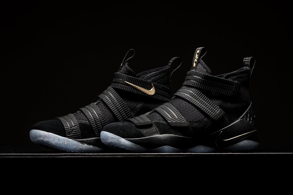 3703ae5af4c7 ... Detailed Look at Nike LeBron Soldier 11 Black and Gold ...