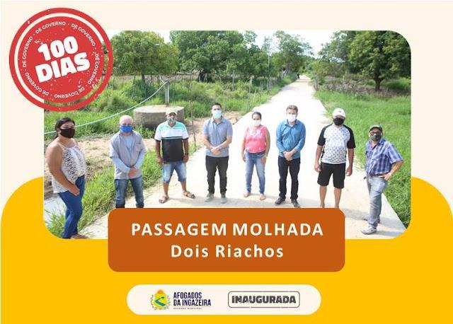PREFEITURA DE AFOGADOS INAUGUROU PASSAGENS MOLHADAS NA CARNAUBINHA E EM DOIS RIACHOS