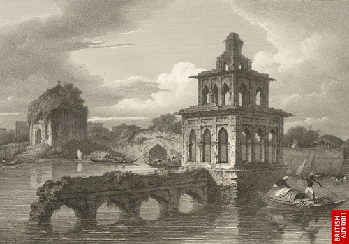 Part of interior of Dhaka by D'Oyly in 1814. No longer exists today.