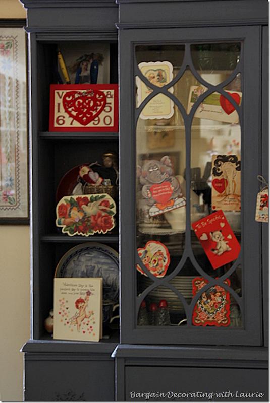 Valentine Cards on Hutch Doors
