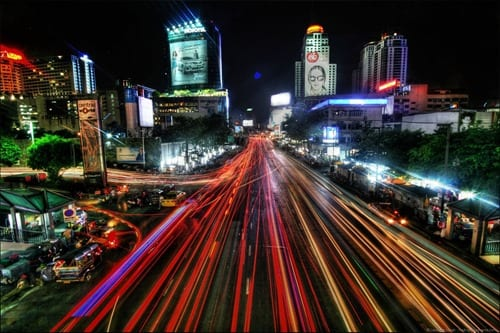Bangkok traffic night scene