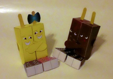 Siamese Twin Pops Paper Toy
