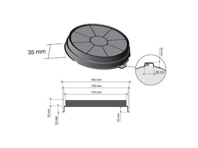 Filtro carboni per cappe Faber diametro 18,4 cm., offerta vendita online