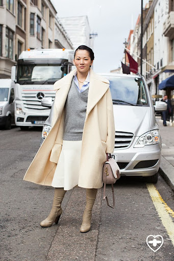 Tina Leung; stylist; Celine coat; Celine skirt; Celine boots; Ralph Lauren shirt; Zara jumper; TOD'S bag;