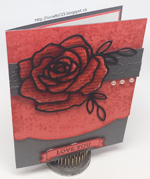Linda Vich Creates: Painted Rose For Global Design Project. A watercolored Watermelon Wonder rose topped by its matching Basic Black thinlit sits atop an ornately cut matte stamped with Timeless Textures.