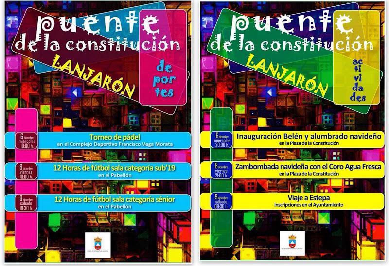 PROGRAMACIÓN DE ACTIVIDADES PARA EL PUENTE DE LA CONSTITUCIÓN