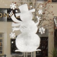 snowman painted on window
