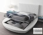 letto tondo con materasso quadro con contenitore aperto, mod. zero Presotto