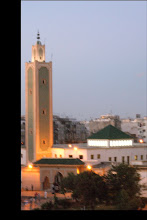 Photo: Mosque at night in Casablanca out my hotel window