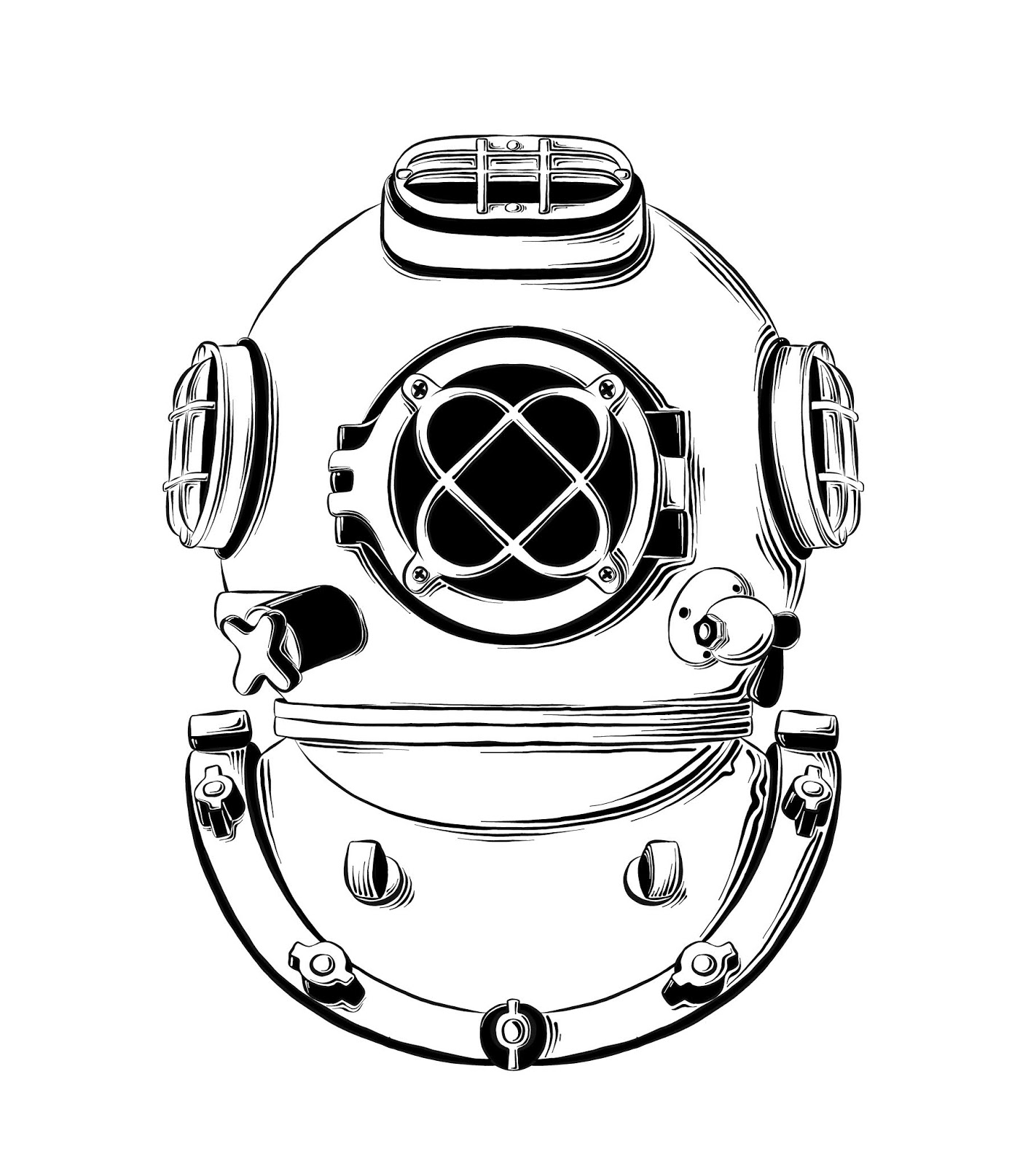 Vector Drawing Diving Helmet Black Color Isolated White	 Free Download Vector CDR, AI, EPS and PNG Formats