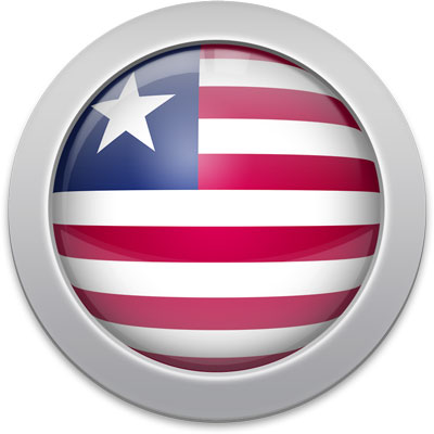 Liberian flag icon with a silver frame