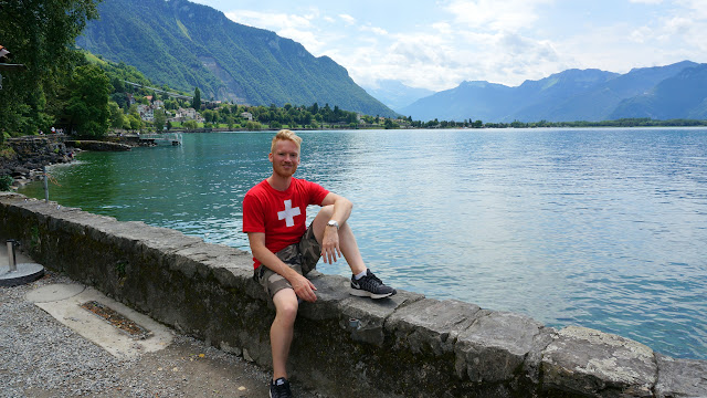enjoying at view at Chillon Castle in Switzerland in Veytaux, Vaud, Switzerland